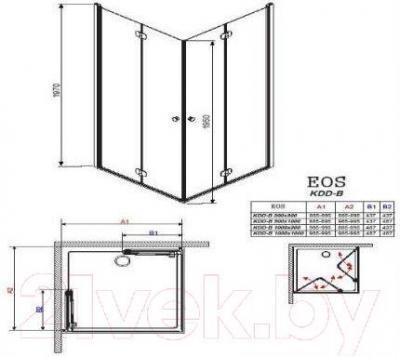 Стенка+дверь душевой кабины Radaway Eos KDD-B (37303-01-01N)