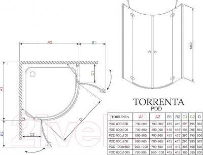 Душевое ограждение Radaway Torrenta PDD 90 (31600-01-05N)