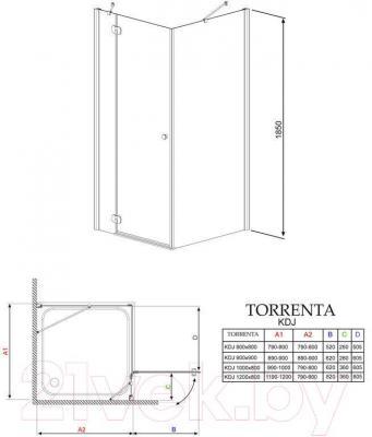 Стенка+дверь душевой кабины Radaway Torrenta KDJ 90 L (32202-01-01NL)