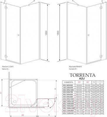 Стенка+дверь душевой кабины Radaway Torrenta KDJ 90 R (32202-01-01NR)