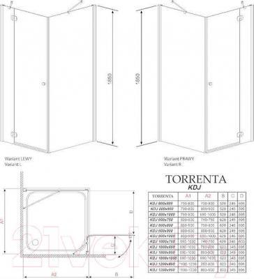 Стенка+дверь душевой кабины Radaway Torrenta KDJ 120 R (32232-01-05NR)