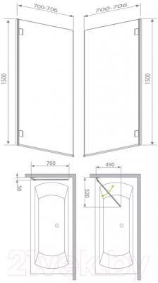 Стеклянная шторка для ванны Radaway Carena PNJ/L (202101-101L) - габаритные размеры