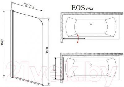 Стеклянная шторка для ванны Radaway EOS PNJ 70/R (205101-101R) - габаритные размеры