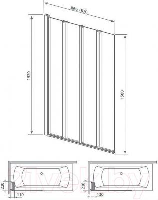 Стеклянная шторка для ванны Radaway EOS PNW4 (205401-101) - габаритные размеры