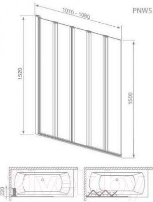 Стеклянная шторка для ванны Radaway EOS PNW5 (205501-101) - габаритные размеры