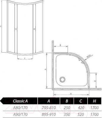 Стенка+дверь душевой кабины Radaway Classic A900 (30001-01-06)