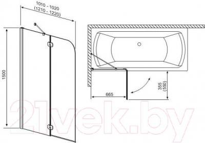 Стеклянная шторка для ванны Radaway Torrenta PND L 1010 (201202-101NL) - габаритные размеры