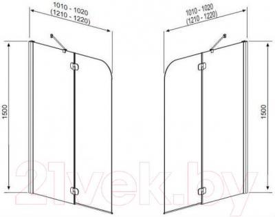 Стеклянная шторка для ванны Radaway Torrenta PND R 1010 (201202-105NR) - габаритные размеры