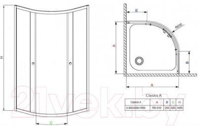 Стенка+дверь душевой кабины Radaway Classic A900 (30000-01-01)
