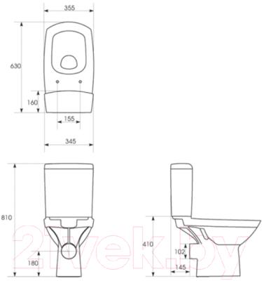 Унитаз напольный Cersanit Carina 011 (чаша+бачок+сиденье)