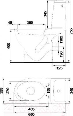 Унитаз напольный Cersanit Еko Е010  (чаша+бачок+сиденье) - вид сверху