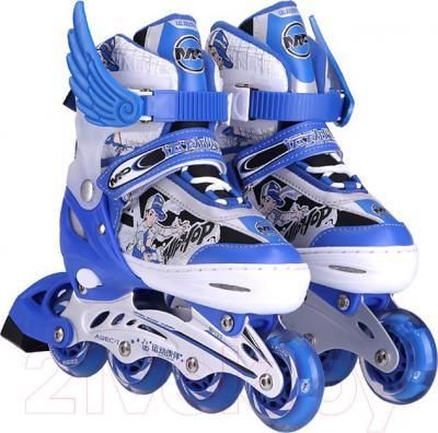 Роликовые коньки Motion Partner MP123L (L, голубой) - общий вид пары