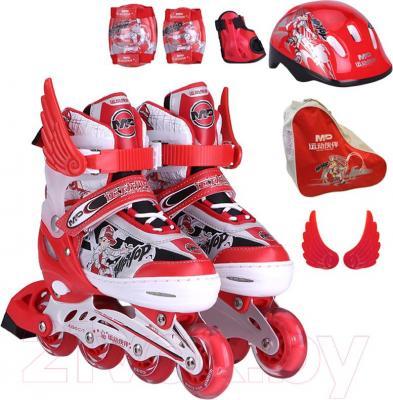 Роликовые коньки Motion Partner MP123L (L, красные) - комплектация