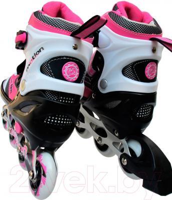 Роликовые коньки Motion Partner MP121L (L, розовые) - вид пары сзади