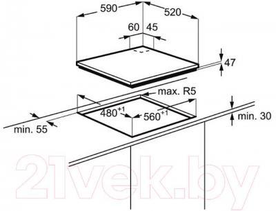 Газовая варочная панель Electrolux EGT96342YX - технический чертеж