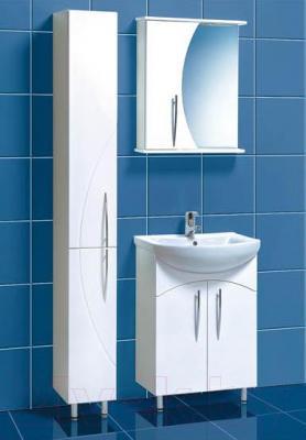Шкаф с зеркалом для ванной Акваль Палермо 60 (ПАЛЕРМО.04.60.00.L) - в интерьере комплект Палермо 60