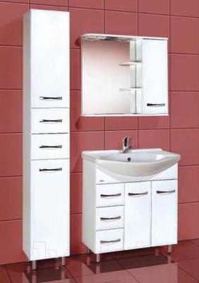 Шкаф с зеркалом для ванной Акваль Виола 80 (AV.04.80.10.R) - в интерьере