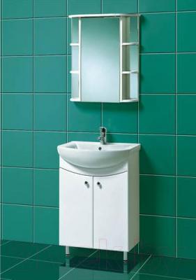 Шкаф с зеркалом для ванной Акваль Порто 60 (В2.1.39.2.9.2) - в интерьере комплект Порто 60
