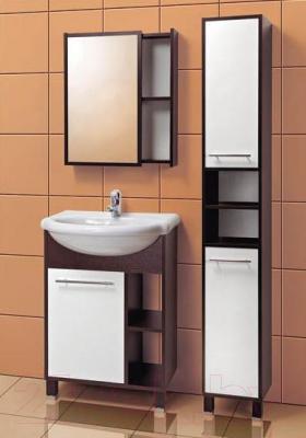 Шкаф с зеркалом для ванной Акваль Карина 60 (ЕК.04.60.00.L) - в интерьере