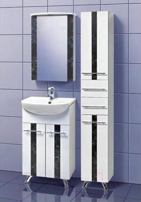 Шкаф с зеркалом для ванной Акваль Токио 50 (ТОКИО.04.50.02.L) - в интерьере комплект Токио 50