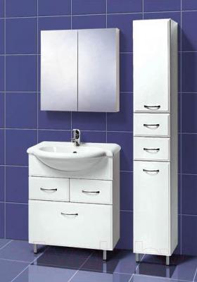 Шкаф с зеркалом для ванной Акваль Эмили 66 (AL.04.66.02.N) - в интерьере комплект Эмили 70