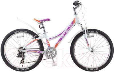 Велосипед Stels Navigator 430 V (24, бело-фиолетово-оранжевый) - общий вид