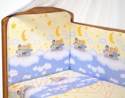 Комплект в кроватку Perina Аманда А4-02.4 (Ночка голубой) - рисунок