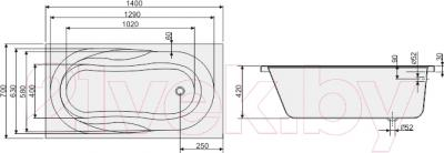 Ванна акриловая Sanplast WP/AS 70x140