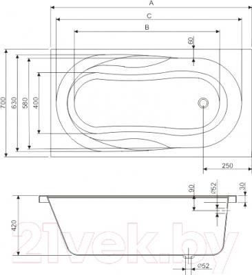Ванна акриловая Sanplast WP/AS 70x160