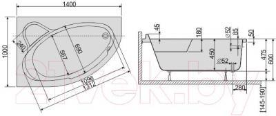 Ванна акриловая Sanplast WAL/CO 100x140 - схема
