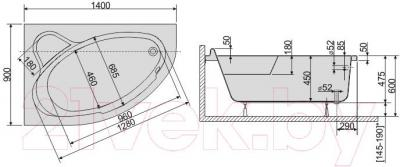 Ванна акриловая Sanplast WAL/CO 90x140  - схема
