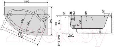 Ванна акриловая Sanplast WAP/CO 90x140  - схема