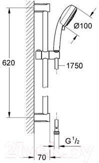 Душевой гарнитур GROHE Tempesta New Cosmopolitan 27786001 - габаритные размеры
