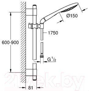 Душевой гарнитур GROHE Rainshower Solo 27273001 - габаритные размеры