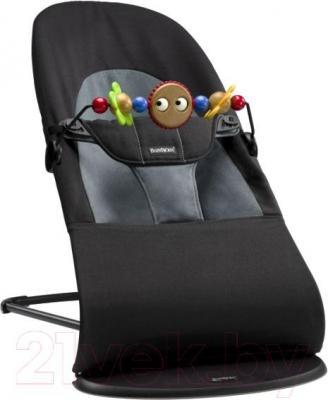 Детский шезлонг BabyBjorn Balance Soft Cotton (черно-серый, с игрушкой) - общий вид