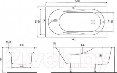 Ванна акриловая Cersanit Mito Red 140x70 (c ножками)