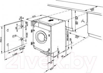 Стиральная машина Whirlpool AWOC 0714 - схема встраивания