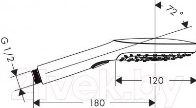 Душевой гарнитур Hansgrohe 26520000 - габаритные размеры