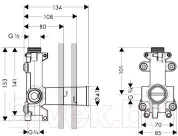 Встраиваемый механизм смесителя Hansgrohe Axor Shower Collection 10971180 - технический чертеж
