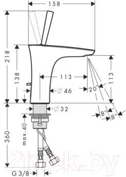 Смеситель Hansgrohe PuraVida 15074400 - технический чертеж