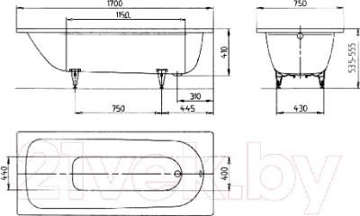Ванна стальная Kaldewei Saniform Plus 373-1 170x75 (с самоочищающимся покрытием)