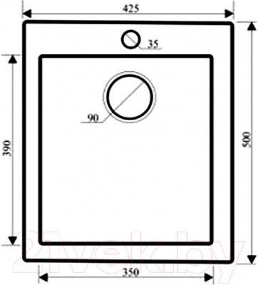 Мойка кухонная Granula GR-4201 (базальт) - схема