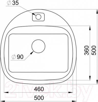 Мойка кухонная Granula GR-5050 (пирит) - схема