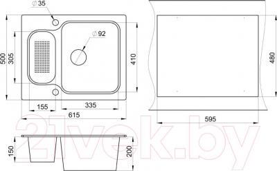 Мойка кухонная Granula GR-6151 (пирит) - схема