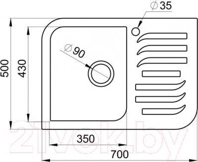 Мойка кухонная Granula GR-7001 (шоколад) - схема