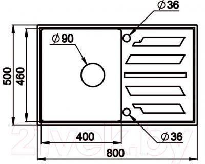 Мойка кухонная Granula GR-8002 (базальт) - схема