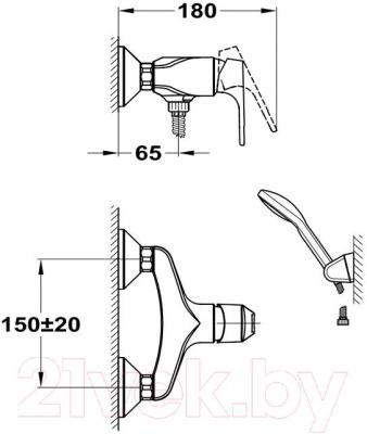 Смеситель Mofem Junior Evo 153-0047-10 - технический чертеж