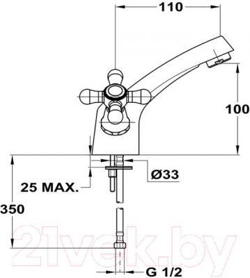 Смеситель Mofem Treff 140-0175-02 - технический чертеж