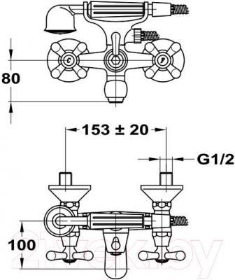 Смеситель Mofem Treff 141-0013-30 - технический чертеж