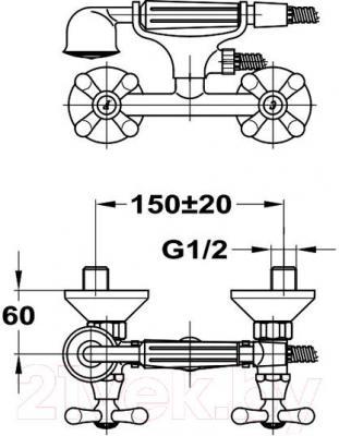 Смеситель Mofem Treff 402 143-0005-01 - технический чертеж